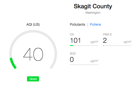 Air pollution report in Skagit County via AirQuality