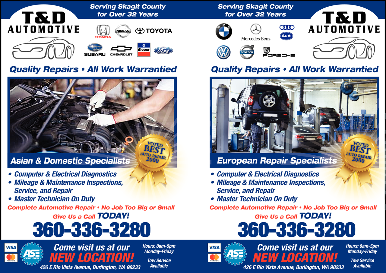 Yellow Pages Ad of T & D Automotive