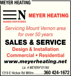 Yellow Pages Ad of Meyer Heating