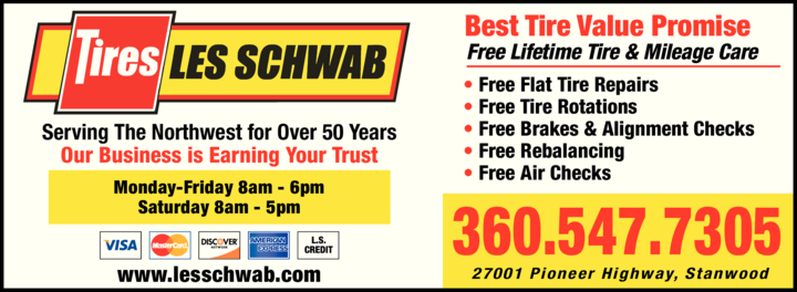 Yellow Pages Ad of Les Schwab Tire Center