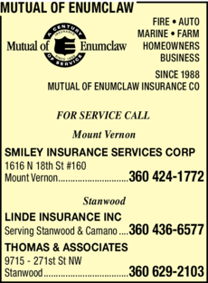 Yellow Pages Ad of Mutual Of Enumclaw