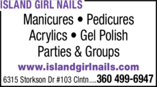 Yellow Pages Ad of Island Girl Nails
