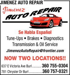 Yellow Pages Ad of Jimenez Auto Repair