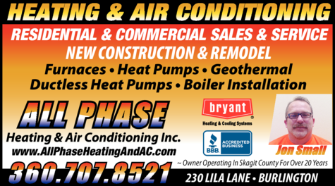 Yellow Pages Ad of All Phase Heating & Air Conditioning Inc