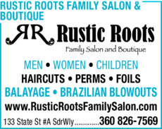 Yellow Pages Ad of Rustic Roots Family Salon & Boutique