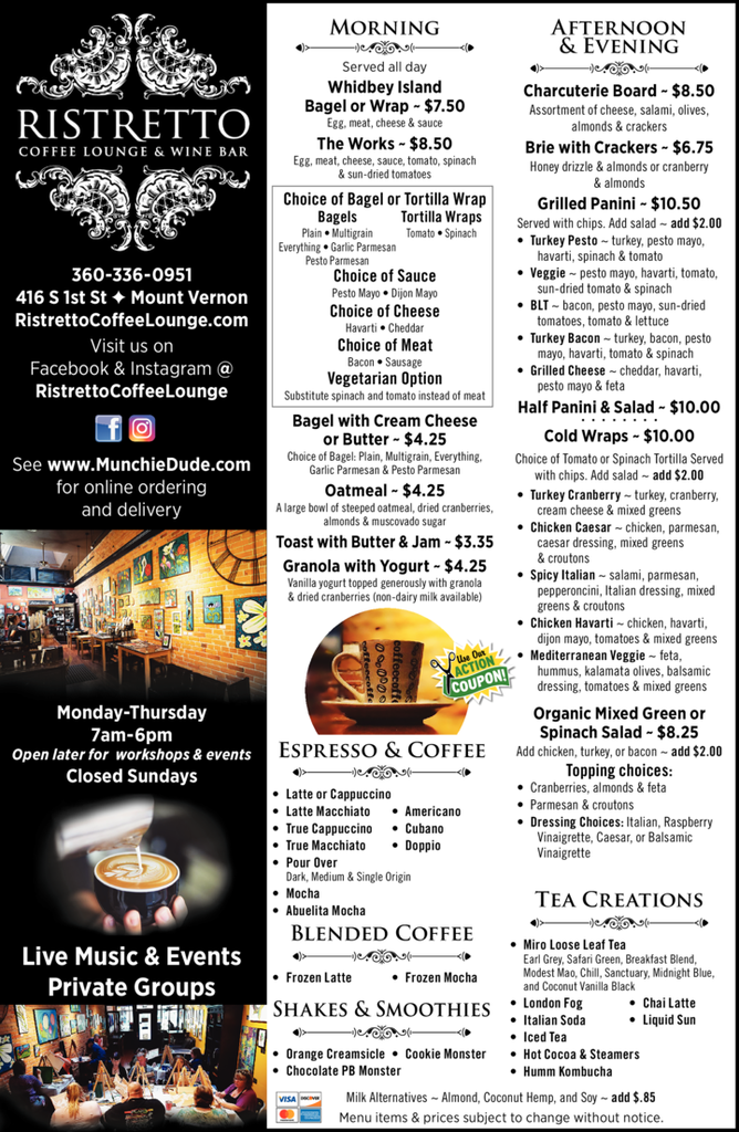 Yellow Pages Ad of Ristretto Coffee Lounge & Wine Bar