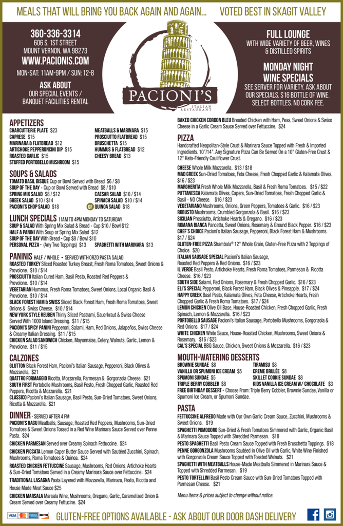 Print Ad of Pacioni's Restaurant & Lounge