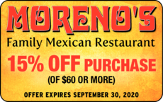 Yellow Pages Ad of Moreno's Family Mexican Restaurant