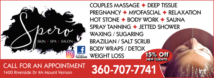 Yellow Pages Ad of Spero Skin Spa Salon
