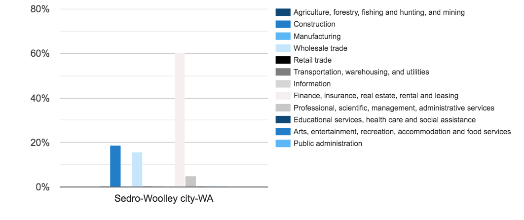 Number of Self Employed People by Detailed Industry Grouping in Sedro-Woolley, WA